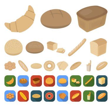 Types of bread cartoon,flat icons in set collection for design. Bakery products vector symbol stock  illustration.