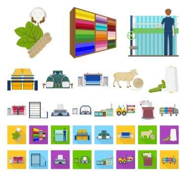 Textile industry cartoon,flat icons in set collection for design.Textile equipment and fabrics vector symbol stock web illustration.