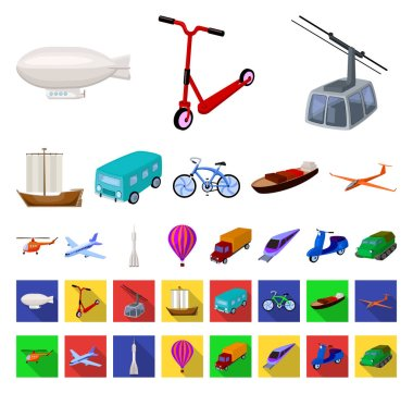 Different types of transport cartoon,flat icons in set collection for design. Car and ship vector symbol stock web illustration.