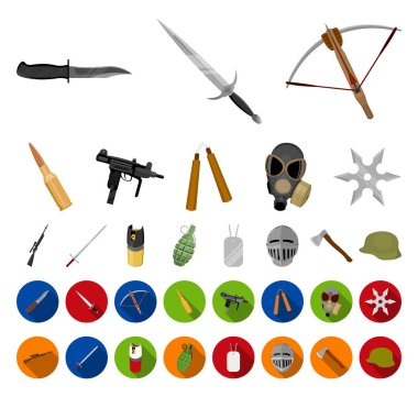 Types of weapons cartoon,flat icons in set collection for design.Firearms and bladed weapons vector symbol stock web illustration.