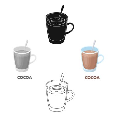 Cup of cocoa.Different types of coffee single icon in cartoon style vector symbol stock illustration web.
