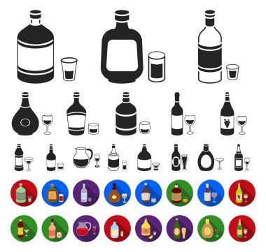 Types of alcohol black,flat icons in set collection for design. Alcohol in bottles vector symbol stock web illustration.