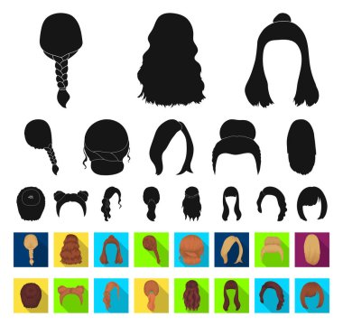 Female hairstyle black,flat icons in set collection for design. Stylish haircut vector symbol stock web illustration.