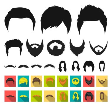 Mustache and beard, hairstyles black,flat icons in set collection for design. Stylish haircut vector symbol stock web illustration.