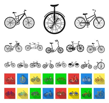 Various bicycles black,flat icons in set collection for design. The type of transport vector symbol stock web illustration.