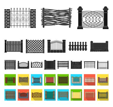 Different fence black,flat icons in set collection for design.Decorative fencing vector symbol stock web illustration.