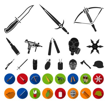 Types of weapons black,flat icons in set collection for design.Firearms and bladed weapons vector symbol stock web illustration.