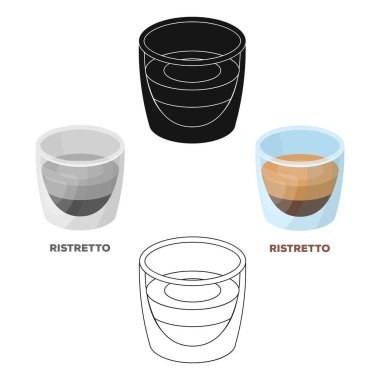 Ristretto glass.Different types of coffee single icon in cartoon style vector symbol stock illustration web.