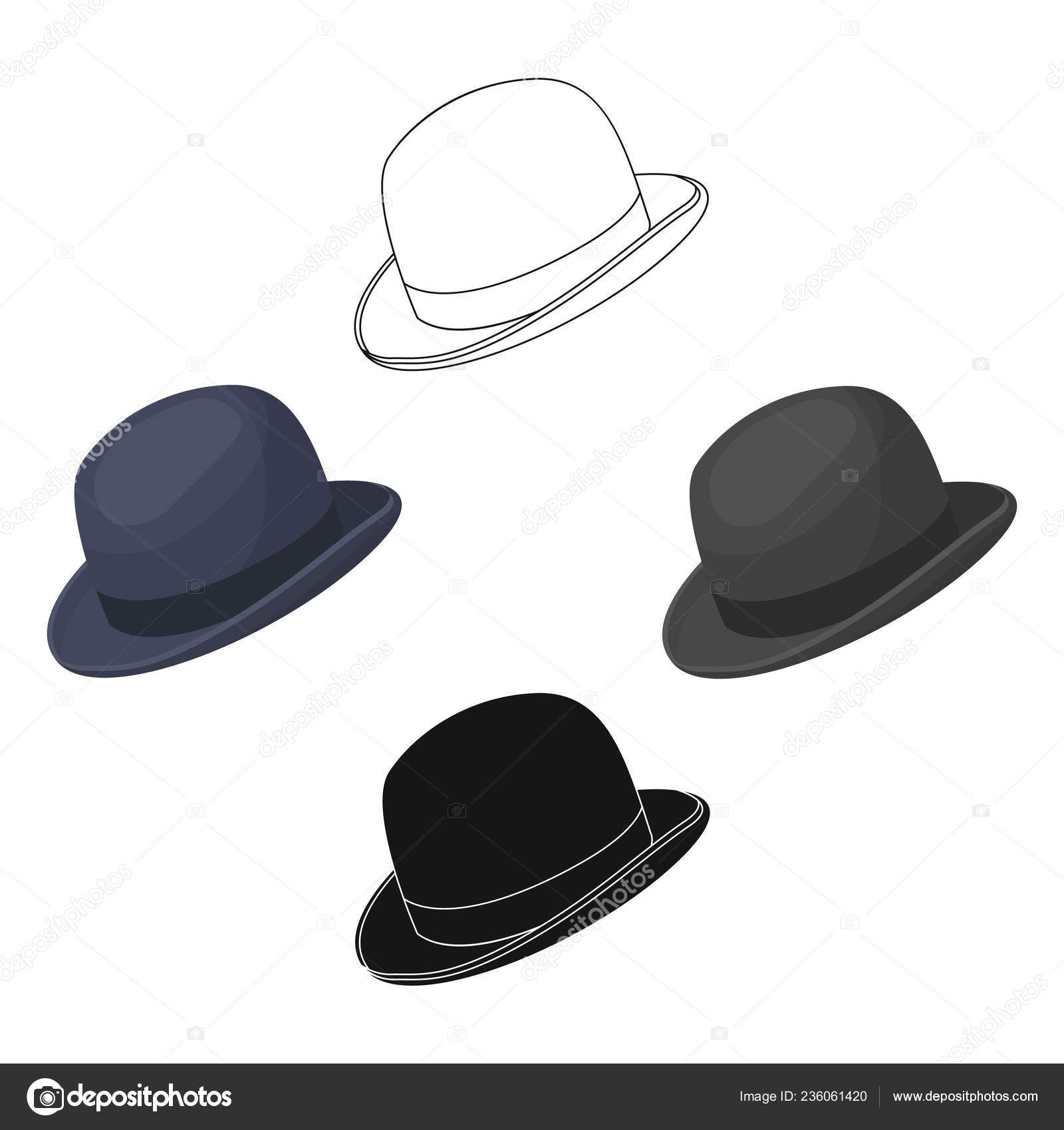 f155c2ef8f3b4 Bowler hat icon in cartoon design isolated on white background. Hipster  style symbol stock vector illustration.