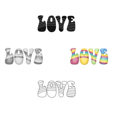 Rainbow inscription of the word love.Hippy single icon in cartoon style vector symbol stock illustration web.