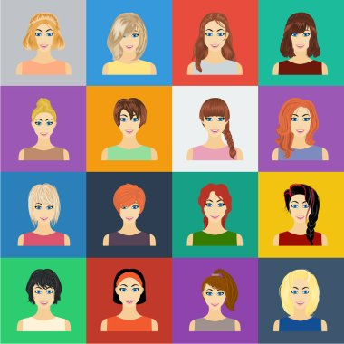 Types of female hairstyles cartoon icons in set collection for design. Appearance of a woman vector symbol stock web illustration.