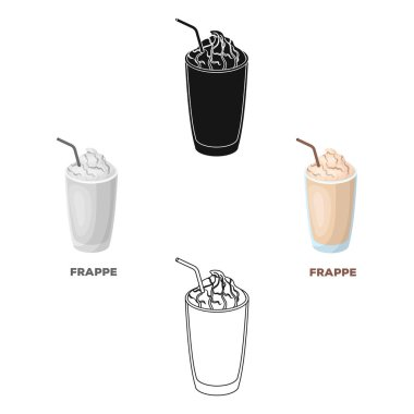 A glass of frappe.Different types of coffee single icon in cartoon style vector symbol stock illustration web.