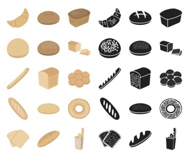 Types of bread cartoon,black icons in set collection for design. Bakery products vector symbol stock web illustration.