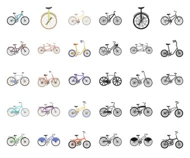 Various bicycles cartoon,black icons in set collection for design. The type of transport vector symbol stock web illustration.