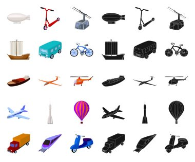 Different types of transport cartoon,black icons in set collection for design. Car and ship vector symbol stock web illustration.