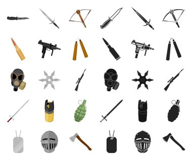Types of weapons cartoon,black icons in set collection for design.Firearms and bladed weapons vector symbol stock web illustration.