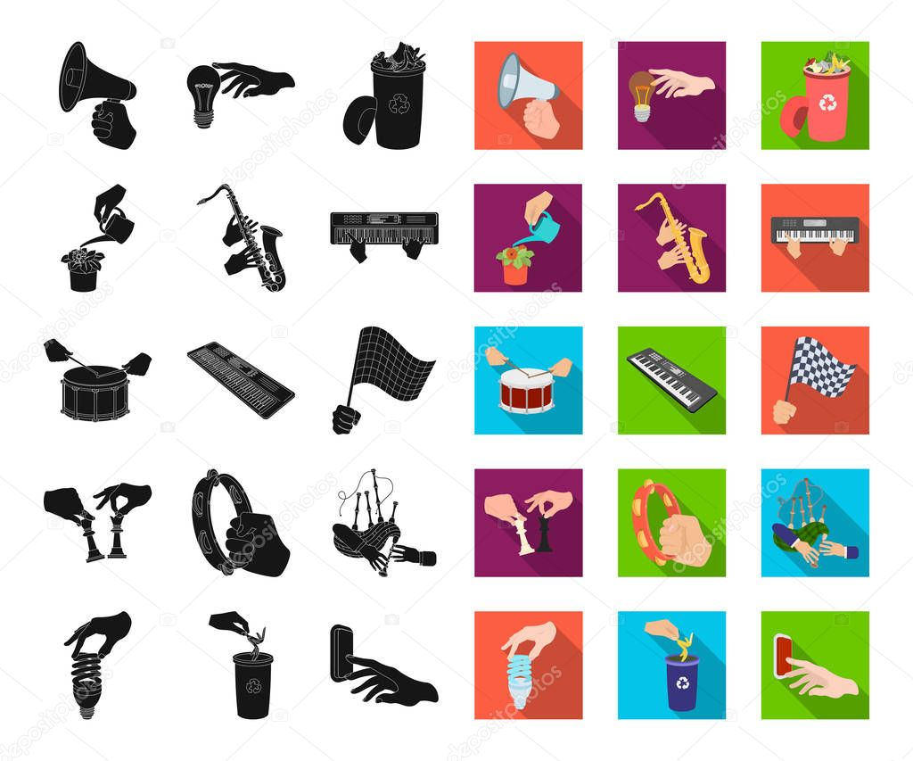 Manipulation by hands black,flat icons in set collection for design. Hand movement vector symbol stock web illustration.