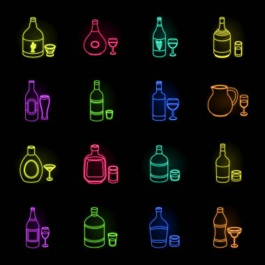 Types of alcohol neon icons in set collection for design. Alcohol in bottles vector symbol stock web illustration.
