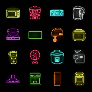 Types of household appliances neon icons in set collection for design.Kitchen equipment vector symbol stock web illustration.
