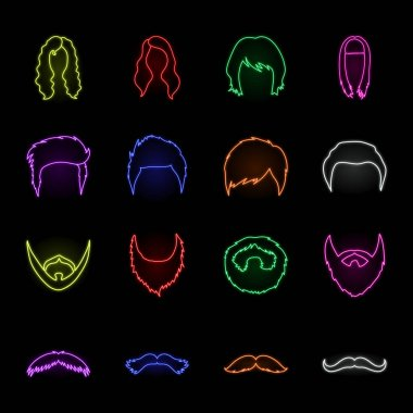 Mustache and beard, hairstyles neon icons in set collection for design. Stylish haircut vector symbol stock web illustration.