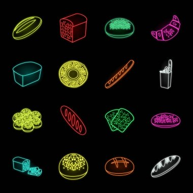 Types of bread neon icons in set collection for design. Bakery products vector symbol stock web illustration.