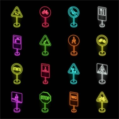 Different types of road signs neon icons in set collection for design. Warning and prohibition signs vector symbol stock web illustration.