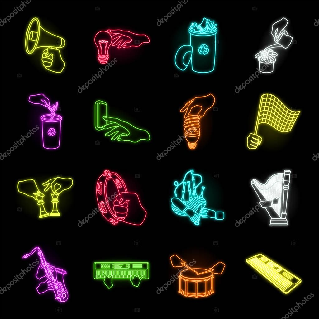 Manipulation by hands neon icons in set collection for design. Hand movement vector symbol stock web illustration.