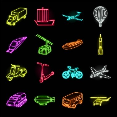 Different types of transport neon icons in set collection for design. Car and ship vector symbol stock web illustration.