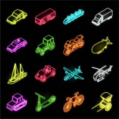 Different types of transport neon icons in set collection for design. Car and ship isometric vector symbol stock web illustration.