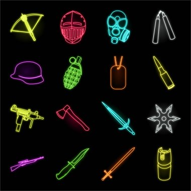 Types of weapons neon icons in set collection for design.Firearms and bladed weapons vector symbol stock web illustration.