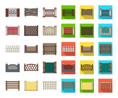 Different fence cartoon,flat icons in set collection for design.Decorative fencing vector symbol stock  illustration.