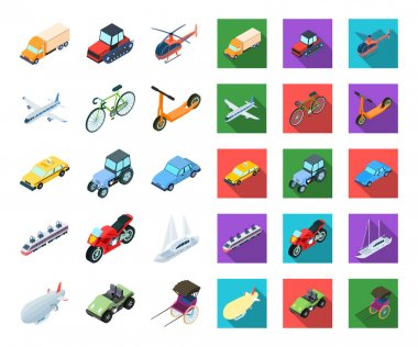 Different types of transport cartoon,flat icons in set collection for design. Car and ship isometric vector symbol stock  illustration.