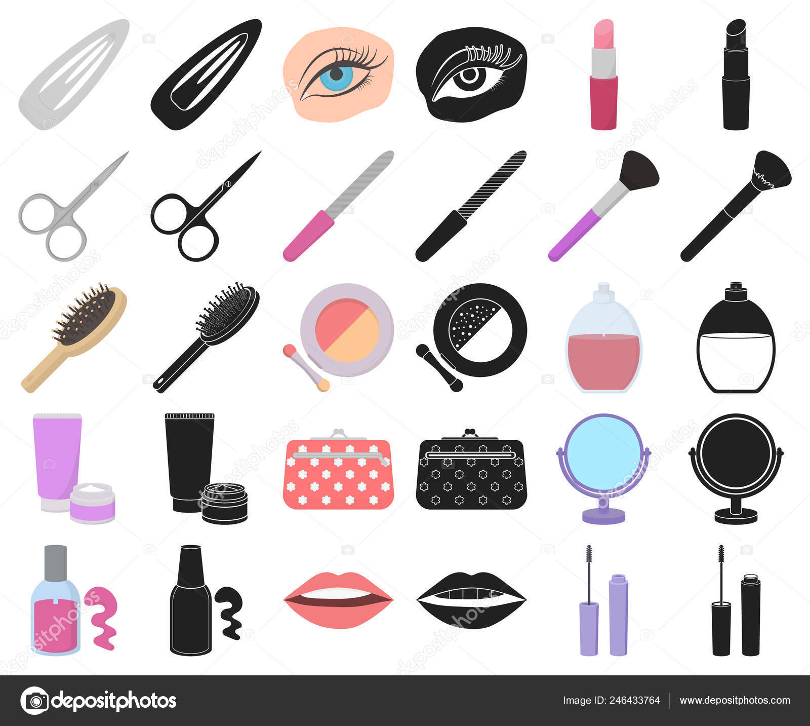 Makeup And Cosmetics Cartoon Black Icons In Set Collection For Design Makeup And Equipment Vector Symbol Stock Web Illustration Stock Vector C Pandavector 246433764