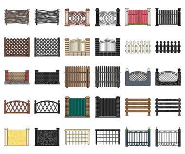 Different fence cartoon,black icons in set collection for design.Decorative fencing vector symbol stock web illustration.