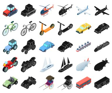 Different types of transport cartoon,black icons in set collection for design. Car and ship isometric vector symbol stock web illustration.