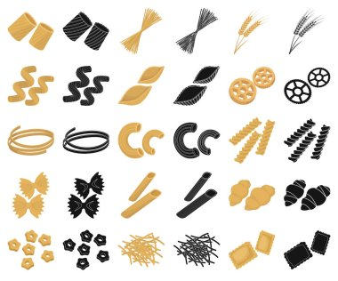 Types of pasta cartoon,black icons in set collection for design. Figured macaroni for eating vector symbol stock web illustration.
