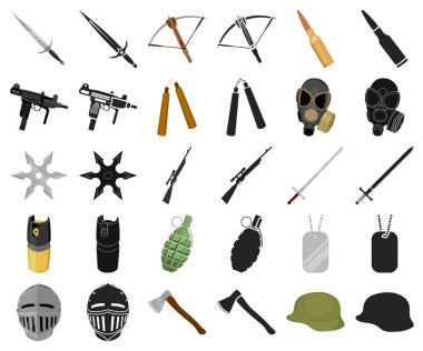 Types of weapons cartoon,black icons in set collection for design.Firearms and bladed weapons vector symbol stock  illustration.