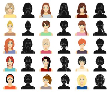 Types of female hairstyles cartoon,black icons in set collection for design. Appearance of a woman vector symbol stock web illustration.