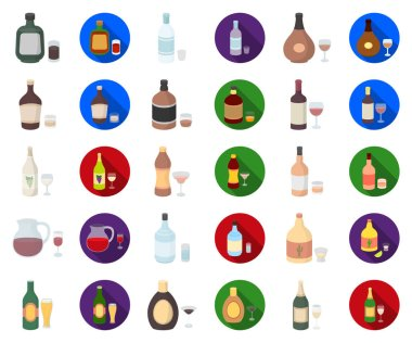 Types of alcohol cartoon,flat icons in set collection for design. Alcohol in bottles vector symbol stock  illustration.