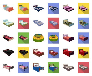 Different beds cartoon,flat icons in set collection for design. Furniture for sleeping vector isometric symbol stock web illustration.