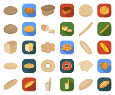 Types of bread cartoon,flat icons in set collection for design. Bakery products vector symbol stock web illustration.