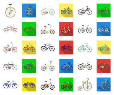 Various bicycles cartoon,flat icons in set collection for design. The type of transport vector symbol stock web illustration.