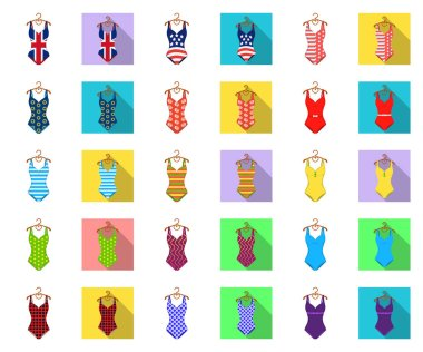 Different types of swimsuits cartoon,flat icons in set collection for design. Swimming accessories vector symbol stock web illustration.