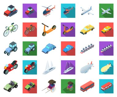 Different types of transport cartoon,flat icons in set collection for design. Car and ship isometric vector symbol stock web illustration.