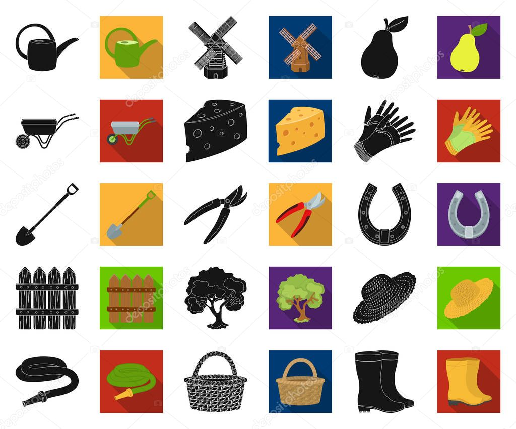 Farm and gardening black,flat icons in set collection for design. Farm and equipment vector symbol stock web illustration.