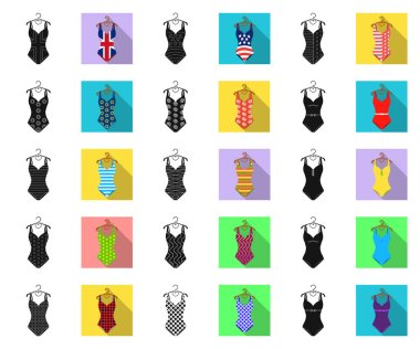 Different types of swimsuits black,flat icons in set collection for design. Swimming accessories vector symbol stock web illustration.