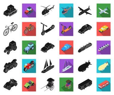 Different types of transport black,flat icons in set collection for design. Car and ship isometric vector symbol stock  illustration.