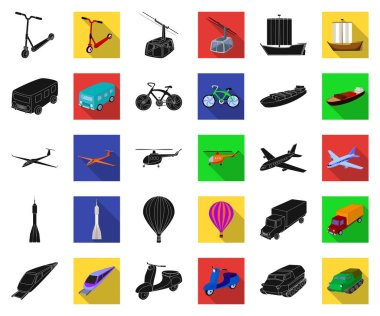 Different types of transport black,flat icons in set collection for design. Car and ship vector symbol stock web illustration.