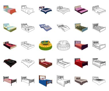Different beds cartoon,outline icons in set collection for design. Furniture for sleeping vector isometric symbol stock web illustration.