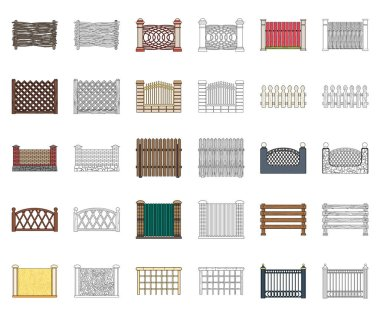Different fence cartoon,outline icons in set collection for design.Decorative fencing vector symbol stock web illustration.